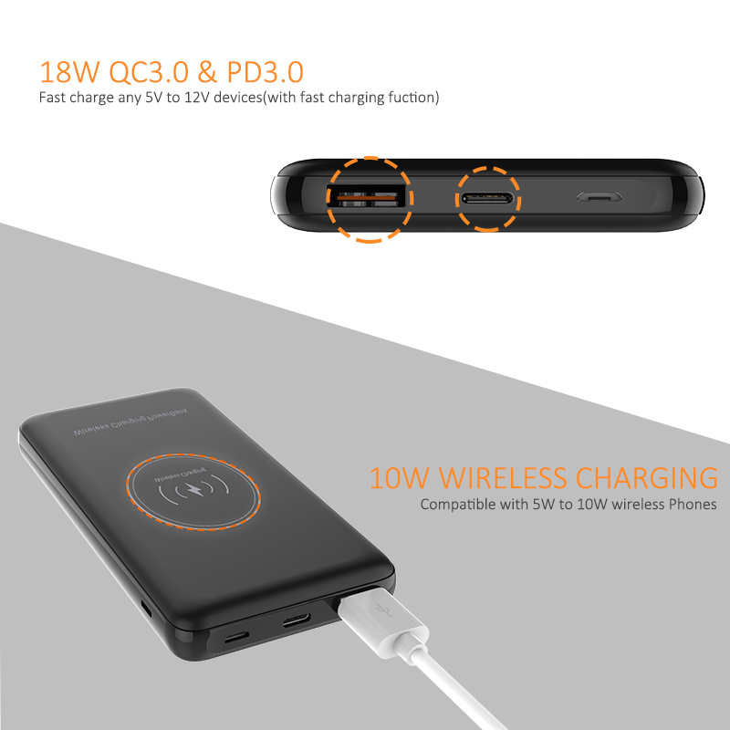 C80 10000mah wireless power bank
